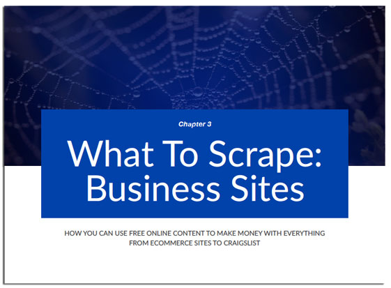 Chapter 3 of Web Scraping Secrets Exposed, Scraping Business Sites (ebay, amazon)